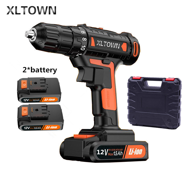 цена на Xltown 12v High-end Mini Drill Rechargeable Lithium Battery Electric Screwdriver Large Torque Household Drill home Power Tools