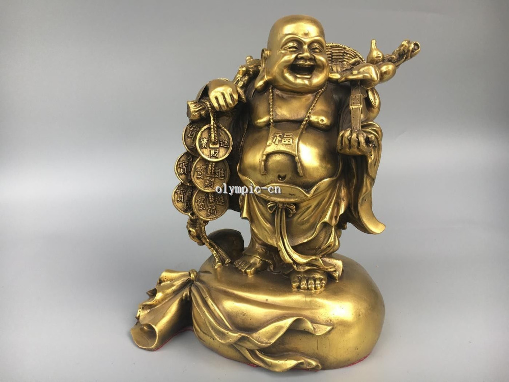 10Classica Brass carved wealth RUYI Gourd Lucky buddha on Gold sack bag statue10Classica Brass carved wealth RUYI Gourd Lucky buddha on Gold sack bag statue