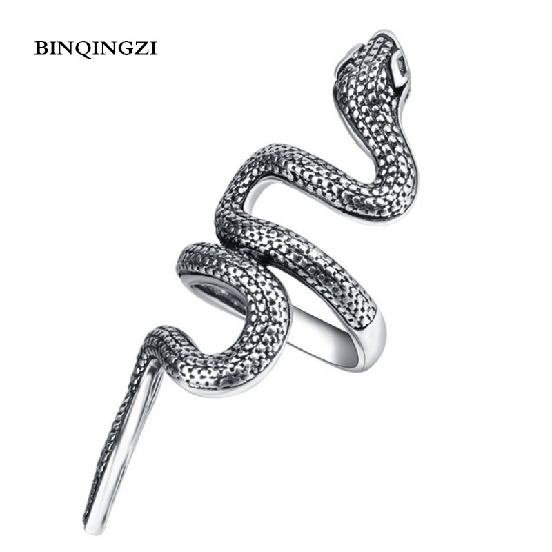1 Pcs Fashion Snake Pattern Design Long Rings Finger Jewelry High Quality Punk Alloy Party Men Ring Trendy Jewelry Accessories