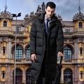 2017new largo por los hombres chaqueta abajo de la capa gruesa abajo chaqueta de los hombres de trajes de negocios negro SHENOWA