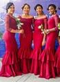 2017 Off-the-Shoulder Red Mermaid Long-Sleeves Beadings Elegant Tiered Bridesmaid Dresses Long Robe Demoiselle D'honneur