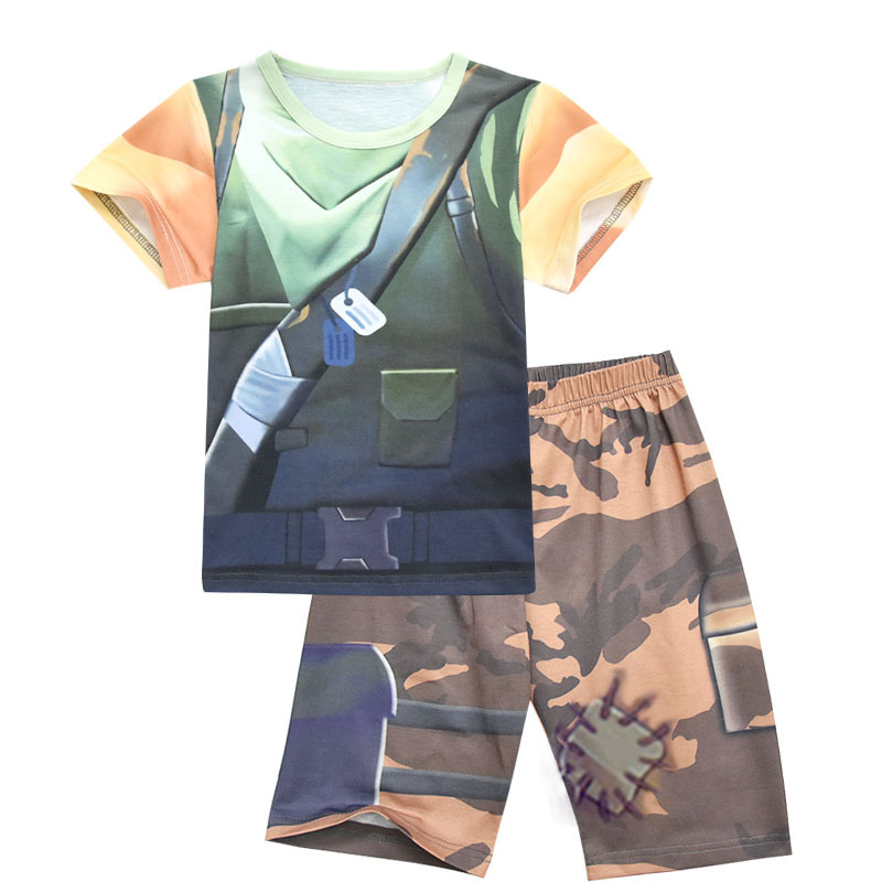 Game Fortnite Summer Childrens Set Short Sleeve T-Shirt + Pants 2pcs Boys Girls Teenager Party Cosplay Clothing Set Kids Hats
