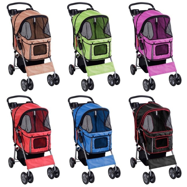 4 Wheels Pet Stroller Dog Cat Carrier Easy Walk Travel Large Folding