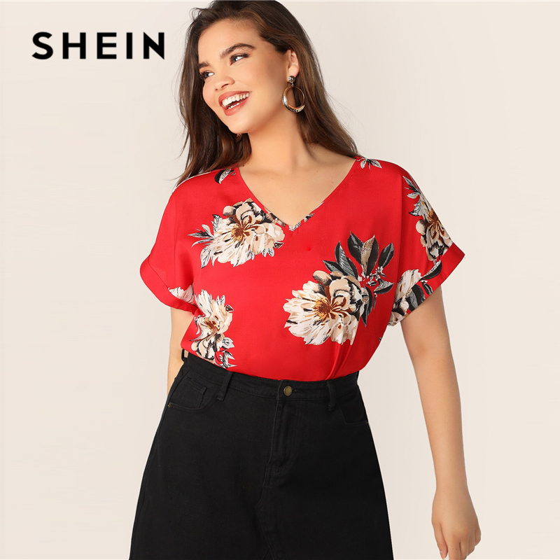 SHEIN Plus Size Red Floral Print Batwing Sleeve Top   Blouse   2019 Women Summer Boho V neck Short Sleeve Vacation   Blouses     Shirt