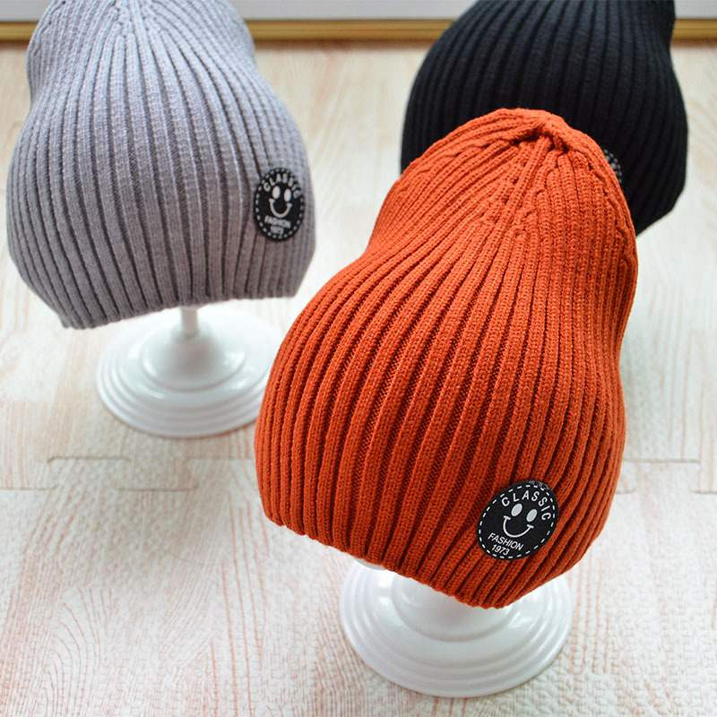 Winter Hats Beanie Knitted Outdoor Kids Children Crochet Warm Boys Casual Solid for Striped-Cap