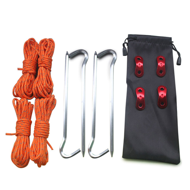 Tent Pegs Light Tent Nails with Pull Cord Rope Wind Buckles Storage Bag Kit Outdoor Camping Hiking B2Cshop