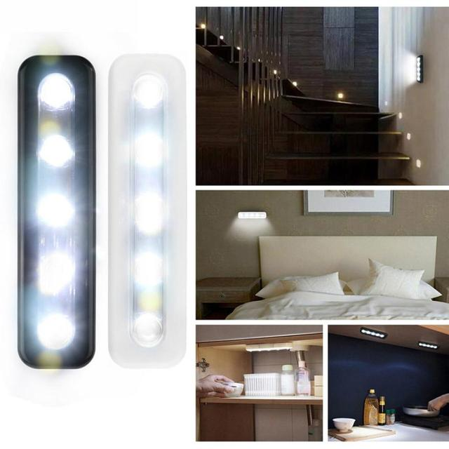 New 5x Bright Battery Operated Bulb Stick On Push Strip Kitchen Shed Lights