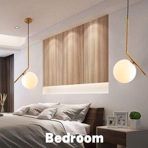 Image 3 - Homhi كرة زجاجية نجفة مزودة بإضاءات ليد ديكوراكاو مطبخ تركيبات الشمال المنزل ديكو غرفة نوم لوفت ضوء الذهب مصباح معلق داخلي
