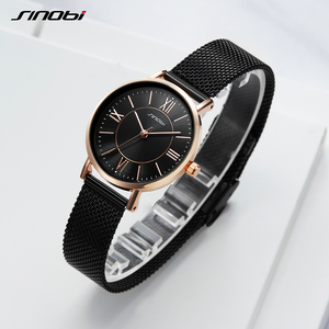 Image 5 - SINOBI Hot Sale Classic Women Watches Black/Golden Luxury Simple Stainless Steel Bracelet Watch Ladies Wristwatch Reloj Mujer