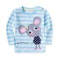 Qualidade superior T-shirt das crianças camiseta menino miúdo crianças roupas de algodão Primavera Outono bonito do bebê meninas listrado mangas compridas T-shirt