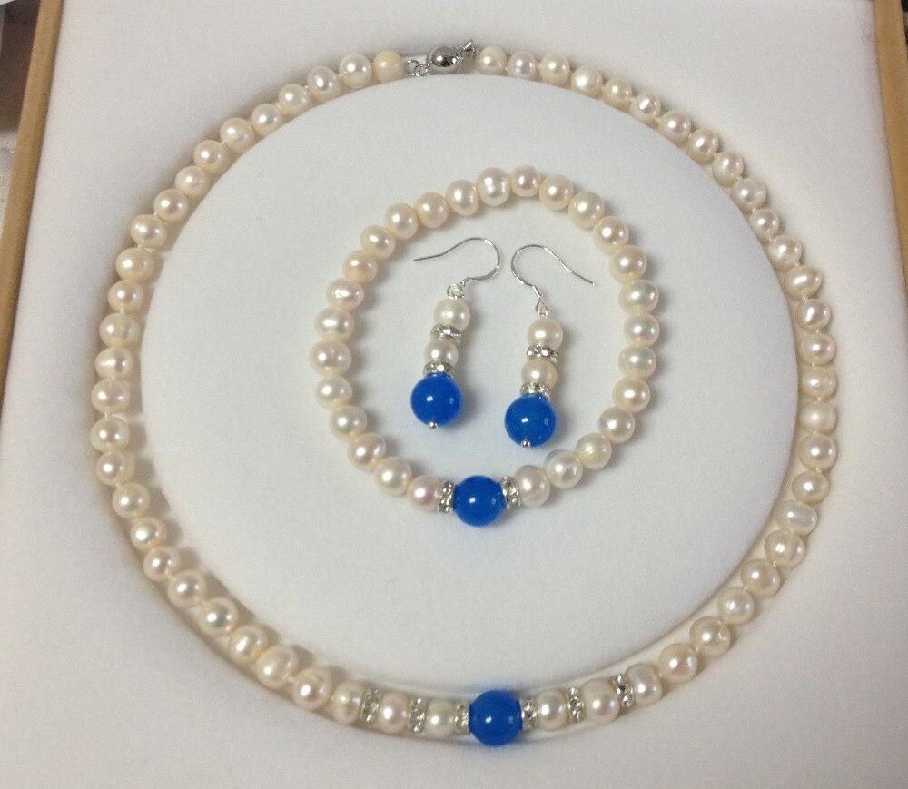 8 9MM White Cultured Pearl Blue Jade bracelets necklace earrings set 18K GP style Fine jewe