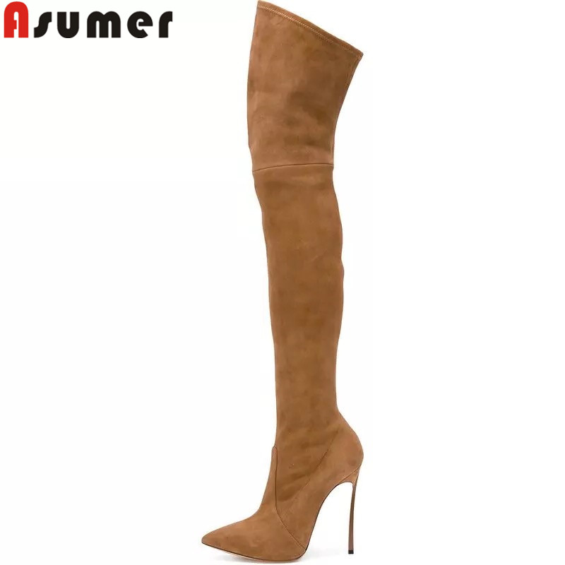ASUMER big size 34-43 fashion over the knee boots pointed toe thin high heels boots super high flock ladies boots big size 34-43 super safari 2 big book