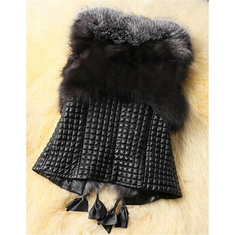 2016 Hitam Faux Fur Rompi Hangat Musim Dingin Fur Jacket Coats untuk - Pakaian Wanita - Foto 2