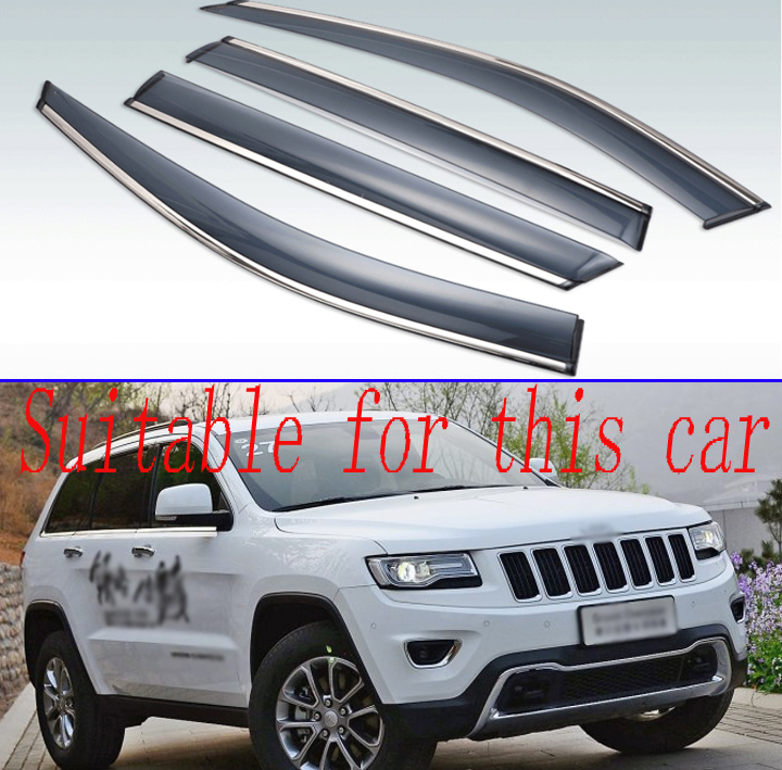 For Jeep Grand Cherokee (WK2) 2011-2019 Car Accessories Plastic Exterior Visor Vent Shades Window Sun Rain Guard Deflector 4pcs