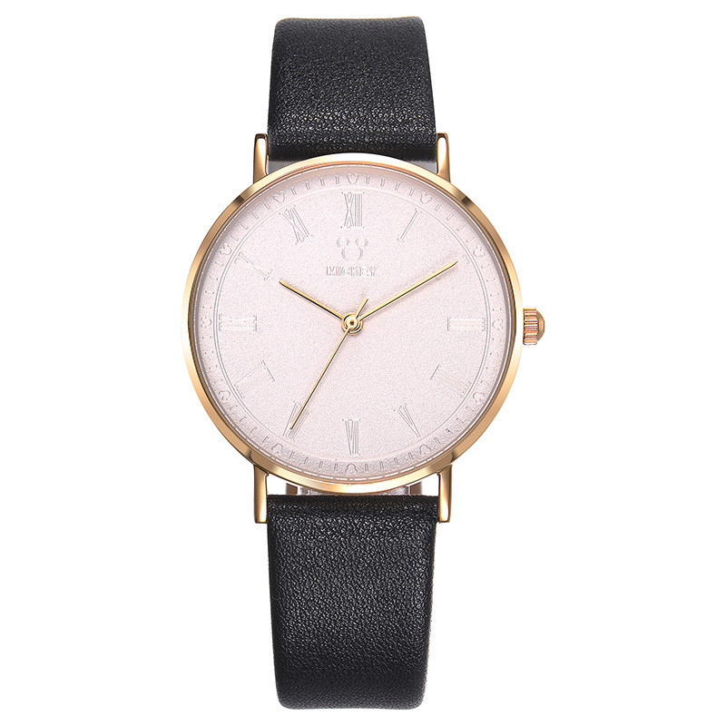 Disney brand Mickey mouse black white brown pink leather quartz watch for women casual waterproof ladies clocks original box