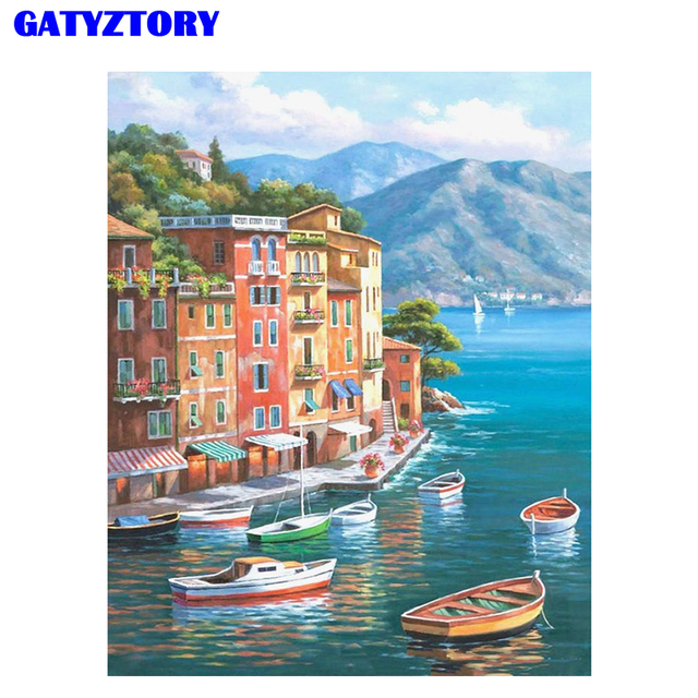 GATYZTORY Frame Harbor Landscape Diy Painting By Numbers Kits Hand Painted Paint By Numbers For Living Room Home Decors 40*50cm