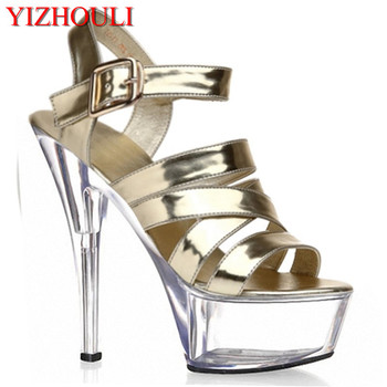 Sexy buckle handsome 15 cm super high heels with stage 1 fine fashion runway shoes, sandals
