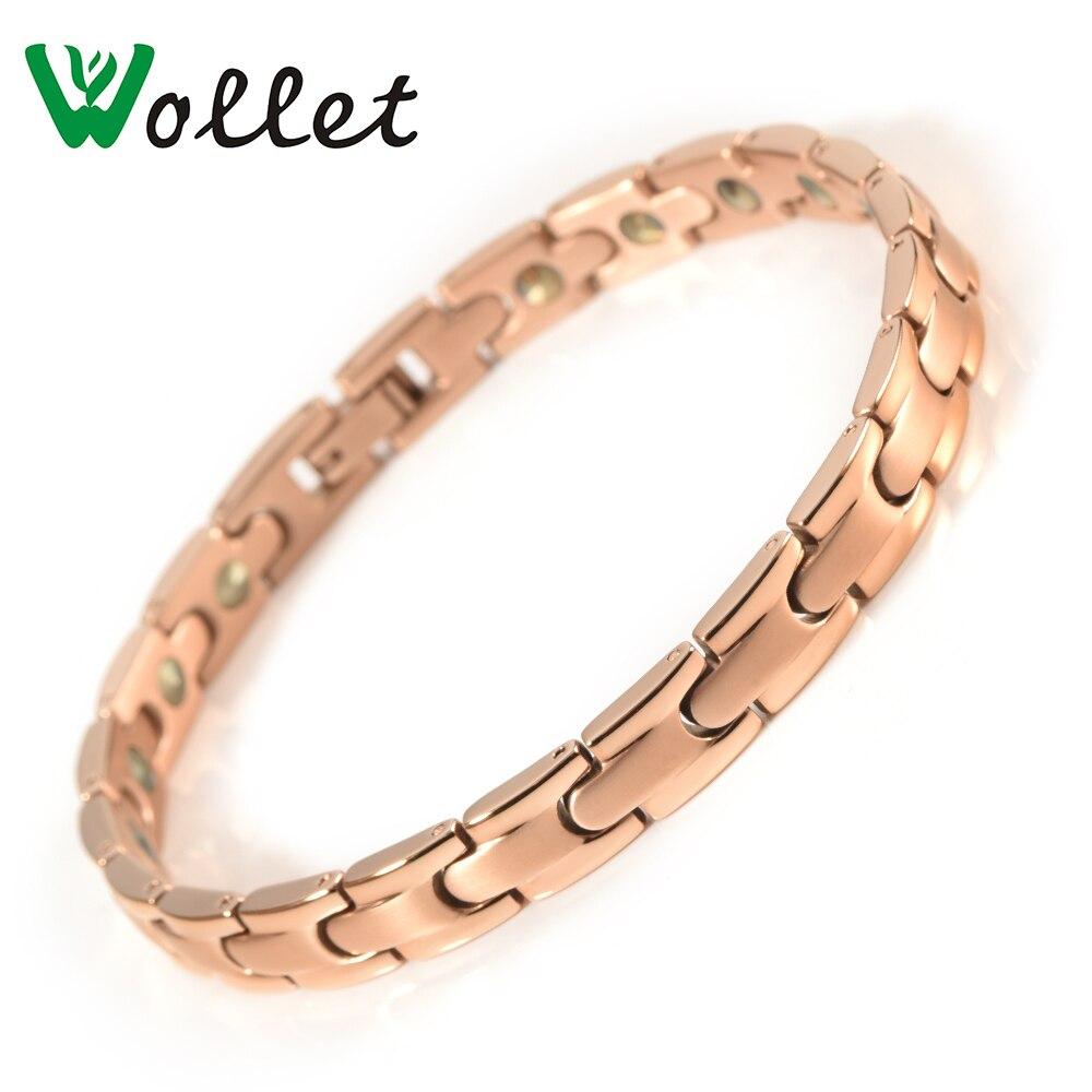 Wollet bijoux soins de santé énergie de guérison 99.999% solide Germanium pur titane Bracelet pour femmes métallique couleur or Rose-in Bracelets ficelle et chaîne from Bijoux et Accessoires    1