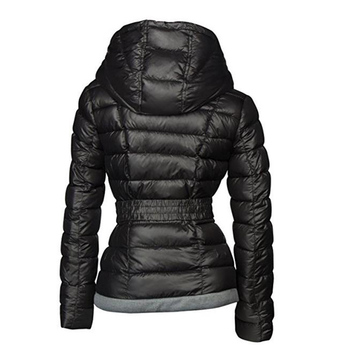 2018 Winter Coats Women Parkas Cotton Warm Thick Short Jacket Coat with Belt Slim Casual zipper Gothic Black Outerwear Overcoats