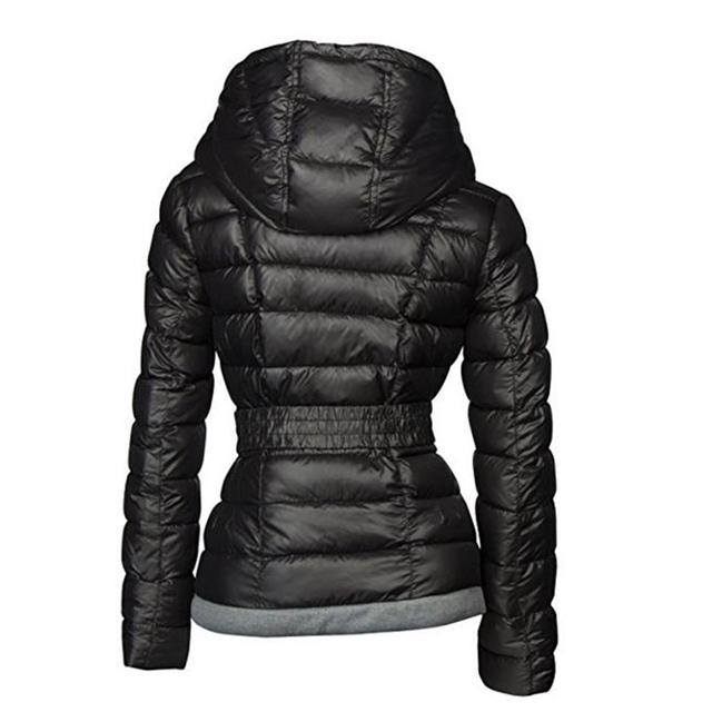 2018 Winter Coats Women Parkas Cotton Warm Thick Short Jacket Coat with Belt Slim Casual zipper Gothic Black Outerwear Overcoats