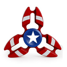 Hand Spinner Batman Captain America Iron Man Fidget Spinner Metal Tri-Spinner Anti Stress Fingertips Toys Fidget Spiner(China)