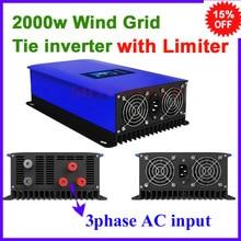 Inversor de rede vento mppt, 2000w 2kw ac 45 90v, frete grátis com função limitadora use excelente qualidade