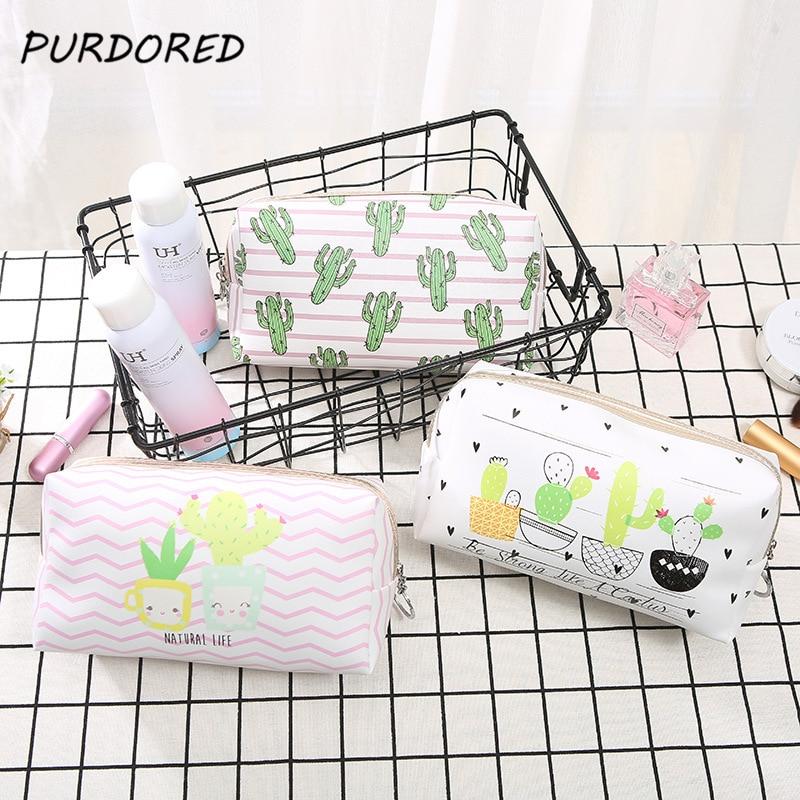 PURDORED 1 Pc Cactus Women Cosmetic Bag 3D Printing Makeup Bag Travel Toilettas Girl Pencil Bag Organizer Neceser Dropshipping
