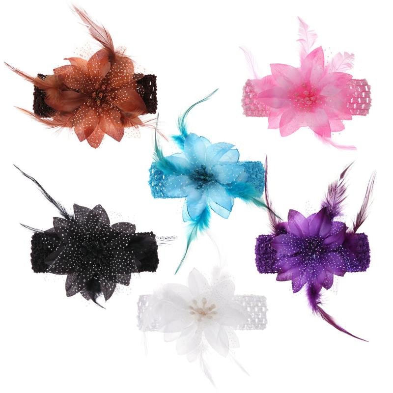 1pcs Baby Hair Band Feather Flower Hair Bow Head Band Baby Girl Hair Accessories Baby Girl Headbands Bandage On Head Children цена 2017