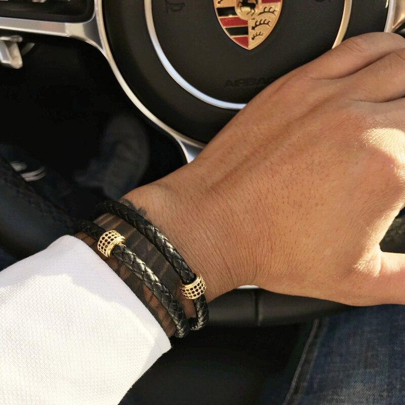 Mcllroy Herren Armbänder Edelstahl Schwarz Leder Armband Armband Armreif Punk Stil Mode Jewlery Magnetische Verschluss 2018