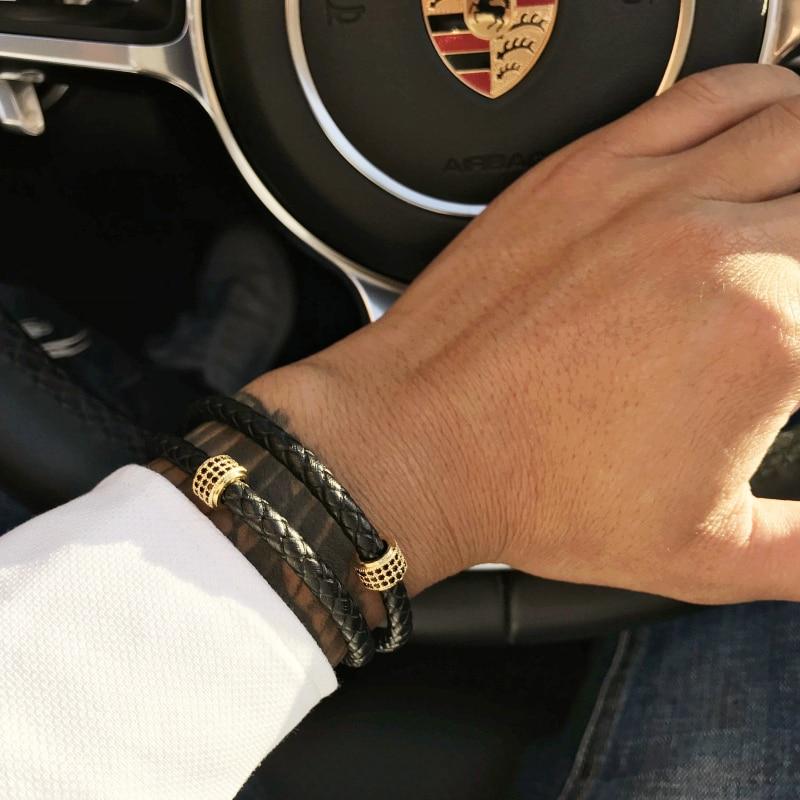 Mcllroy Mens Bracelets Stainless Steel Black Leather Bracelet Wristband Bangle P