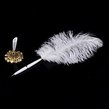 Pluma de firma de la pluma de la boda pluma blanca de invitado Libro de Negocios firma pluma de avestruz titular de la pluma Color plata/oro