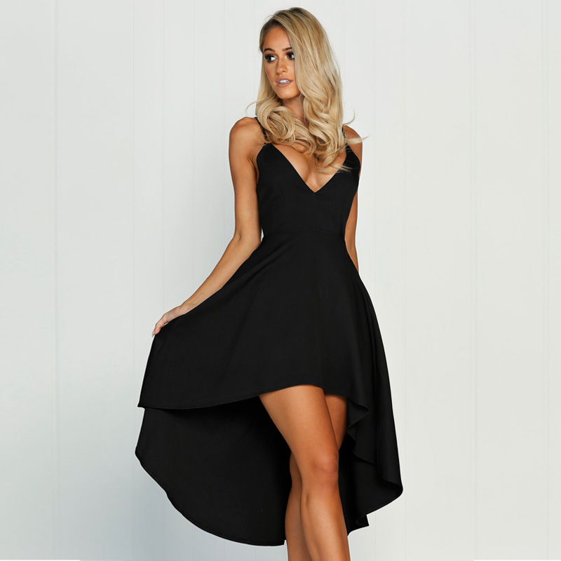 2017 summer new fashion sexy sling deep V neck asymmetrical three dimensional large dress long section