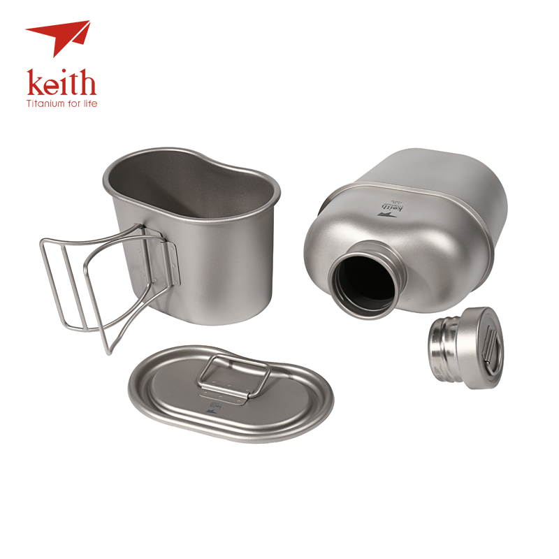 Keith Titanium 1100ml Sports Kettle And 700ml Titanium Lunch Box Camping Army Water Bottles Water Cooker Ultralight Ti3060