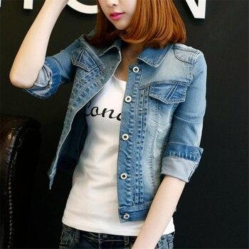 Fashion S 5XL 2017 Plus Size Women winter Solid Blue Cotton Denim Jacket Light Washed woman Collar Long Sleeve jeans Coats