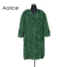 CT7015 вязать трикотажные монгольских овец пальто с мехом Куртка пальто российских женщин зимние теплые пальто с мехом Ourwear дольше стиль