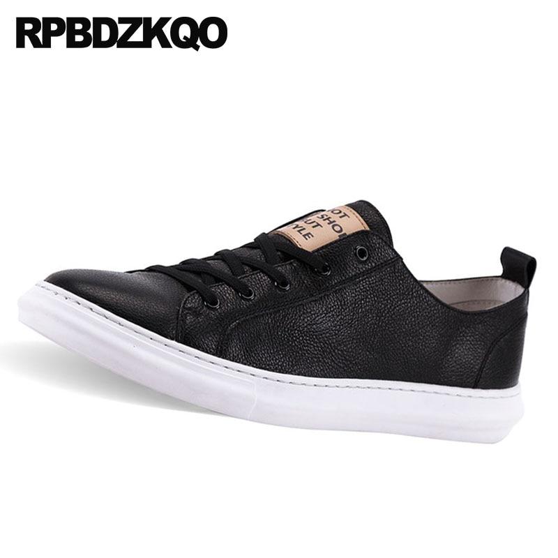 Calidad Lujo Genuino Zapatos Negro Marca La Zapatillas Casual Alta Encaje Deporte De Confort 2018 Real Niños Negro Nuevo Skate Cuero blanco Los Hombres SqwqgUY