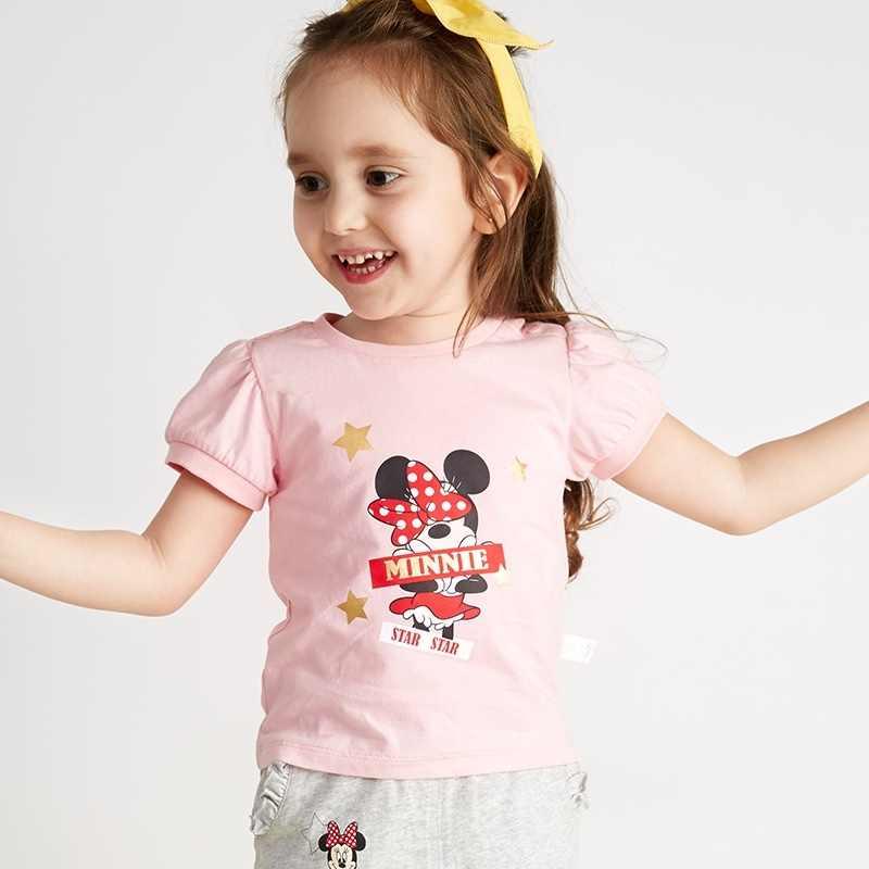 496e853602011 DISNEY Children's Garment Girl Knitting Fashion Short Sleeve T Pity 2018  Natsu Disney Baby Minnie Rendering T T-shirt
