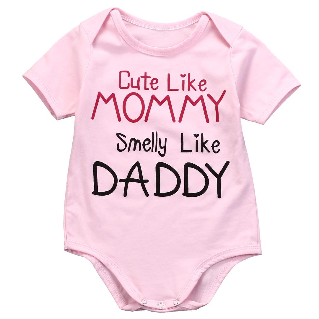 ceeb6787813d2 Letter Mommy Daddy 1 Pcs Newborn Babies Girls Bodysuits Infant Baby Girl  Cotton Pink Bodysuit Jumpsuit Outfits Clothes 0-18M