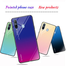 Gradient Painted Tempered Glass Back Protector Phone Cover Case For Samsung Galaxy A60