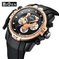 BIDEN Multifunction sports mens wristwatches silicone quartz man watches waterproof calendar luxury male clocks Citizen movement