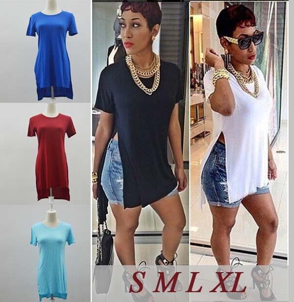 4fe60fd74 T Shirt Femme 2015 New Fashion Sexy Women Long Tops Side Split Shirt Summer  Casual White Tee Shirts Desigual Clothing Plus Size