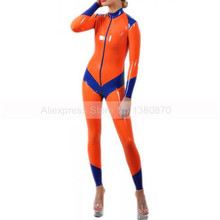 Zipper Bodysuit Blue Rubber