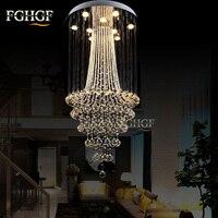 Роскошные Современные хрустальные люстры свет люстры де cristal лампы дома Освещение долго лестница лампа для заподлицо 100% гарантируем