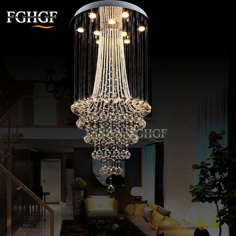 Luxusní moderní křišťálový lustr světlo Lustres de Cristal lampa Domácí osvětlení Dlouhá schodová lampa pro zapuštěnou 100% záruku
