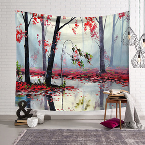 Image 2 - CAMMITEVER Natural Scenic Trees Bridge Tapestry Wall Hanging Landscape Wall Tapestries Mandala Bohemian Throw