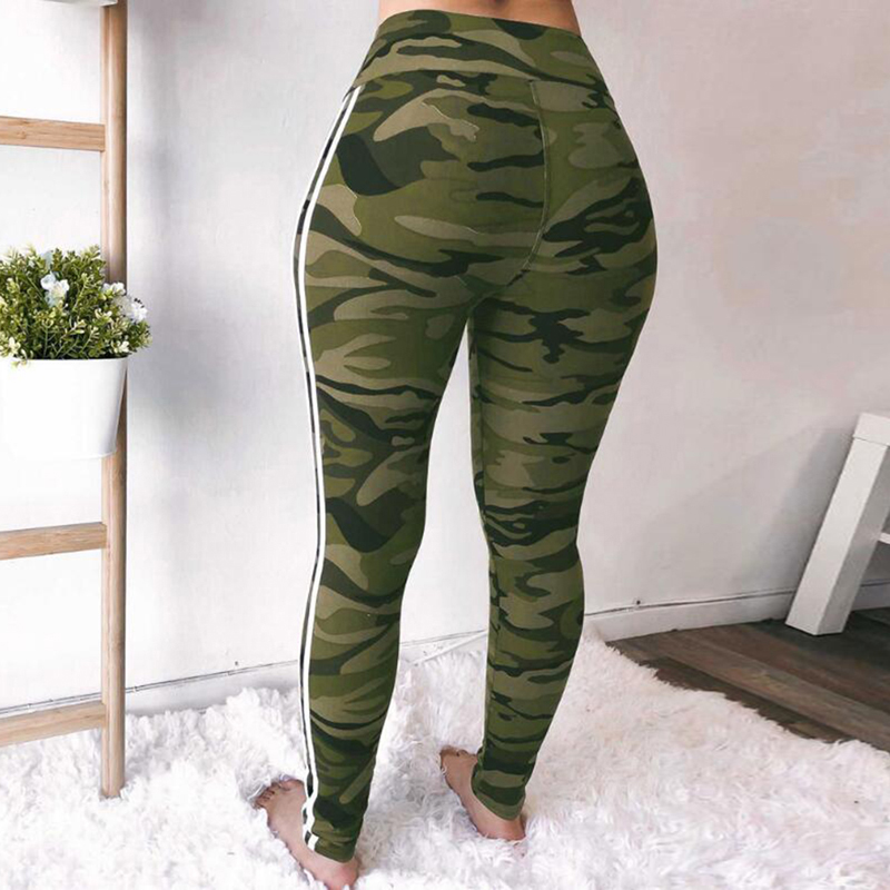 2018 Women Camo Print Skinny Yoga Pants Plus Size White Striped Camouflage  Sport Trousers High Waist Running Sweatpants Push Up-in Yoga Pants from  Sports ... dbc901298851