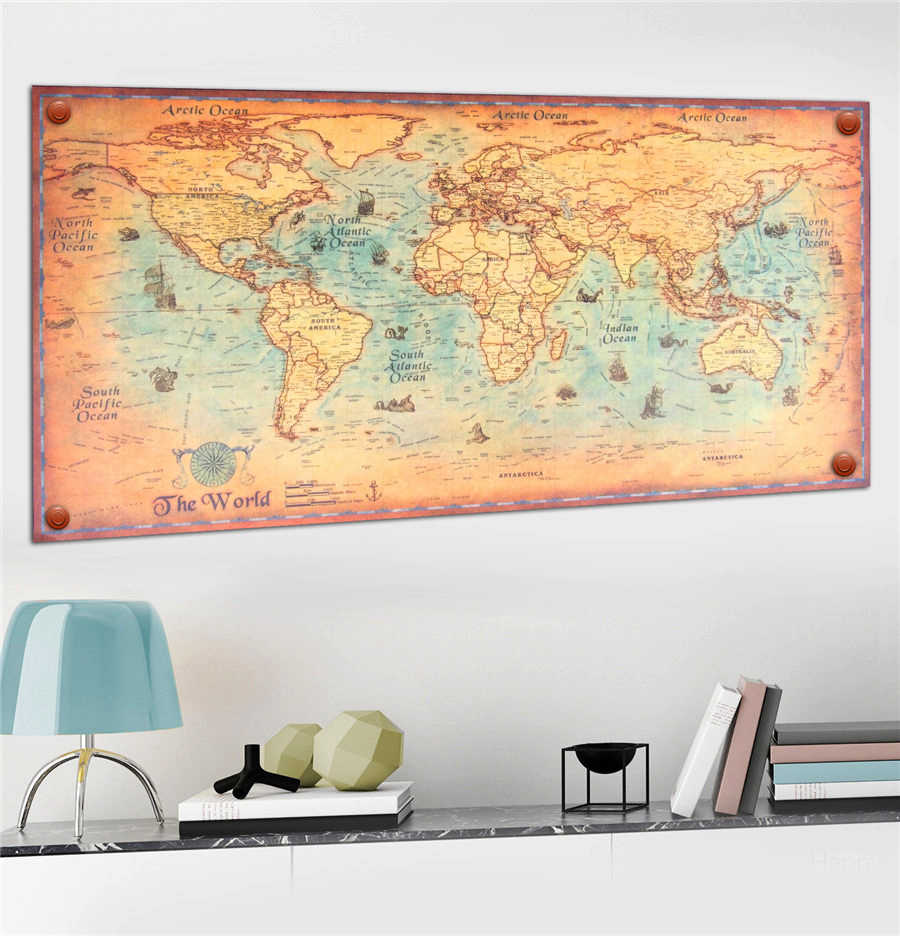 Detail Feedback Questions about Vintage world map Paint Kraft Poster on