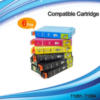 Free Shipping,T1261 Compatible Ink Cartridge T1261 T1262 T1263 T1264 for EPSON Workforce 630 633 635 60 840 printer,12PCS