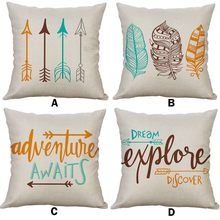 Letter Arrow Home Cushion covers Cotton linen ethnic pillow cover Sofa bed Nordic decorative pillow case almofadas 45x45/40x40cm(China)