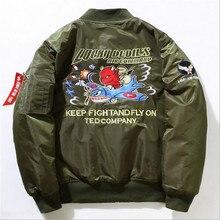 6d04113e76e1a 2018 moda de invierno de los hombres chaqueta gruesa carta Ma1 chaqueta del  piloto del bombardero hombres Hip Hop Swag bombarder.